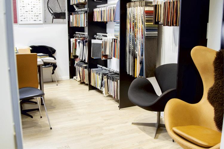 Showroom med designermøbler
